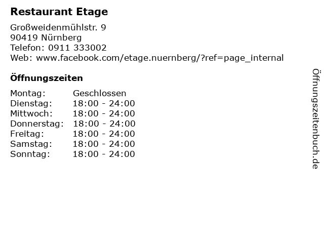 Etage in Nürnberg: Adresse und Öffnungszeiten