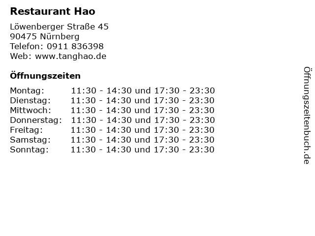 Restaurant Hao in Nürnberg: Adresse und Öffnungszeiten