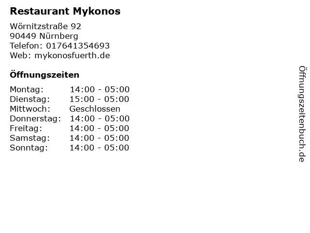 Restaurant Mykonos in Nürnberg: Adresse und Öffnungszeiten