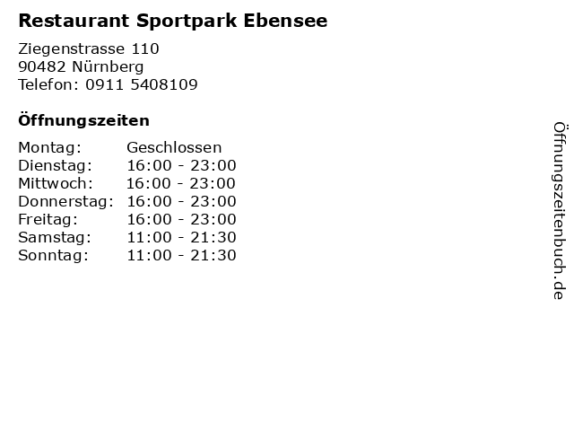 Restaurant Sportpark Ebensee in Nürnberg: Adresse und Öffnungszeiten