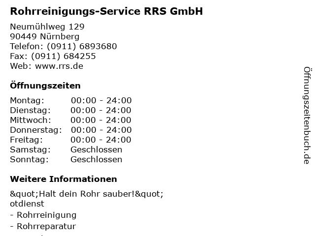 Rohrreinigungs-Service RRS GmbH in Nürnberg: Adresse und Öffnungszeiten