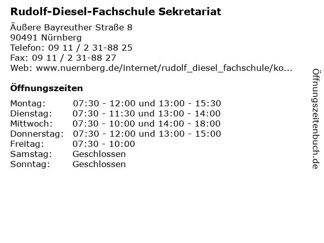 Rudolf-Diesel-Fachschule Sekretariat in Nürnberg: Adresse und Öffnungszeiten