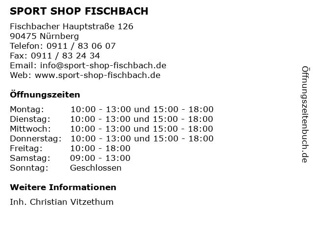 SPORT SHOP FISCHBACH in Nürnberg: Adresse und Öffnungszeiten