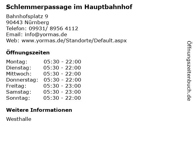 Schlemmerpassage im Hauptbahnhof in Nürnberg: Adresse und Öffnungszeiten