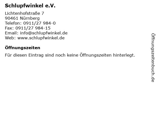 Schlupfwinkel e.V. in Nürnberg: Adresse und Öffnungszeiten