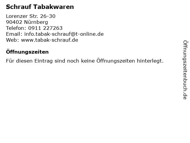 Schrauf Tabakwaren in Nürnberg: Adresse und Öffnungszeiten