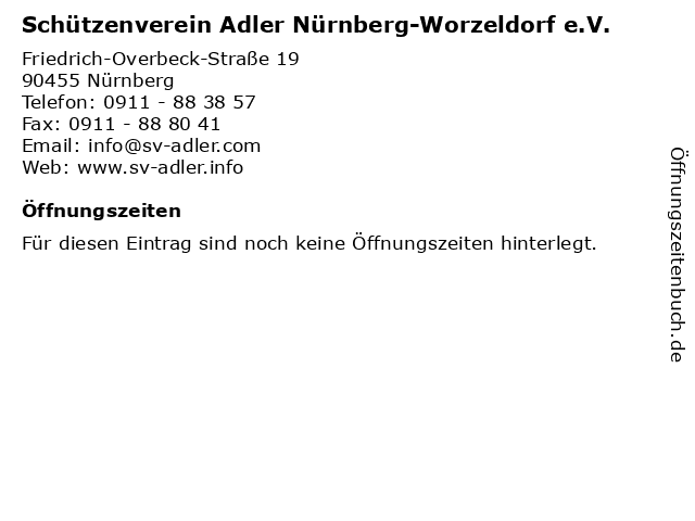 Schützenverein Adler Nürnberg-Worzeldorf e.V. in Nürnberg: Adresse und Öffnungszeiten