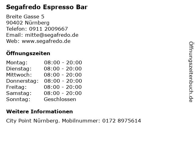 Segafredo Espresso Bar in Nürnberg: Adresse und Öffnungszeiten