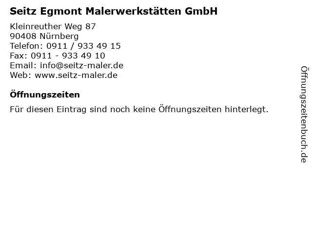Seitz Egmont Malerwerkstätten GmbH in Nürnberg: Adresse und Öffnungszeiten