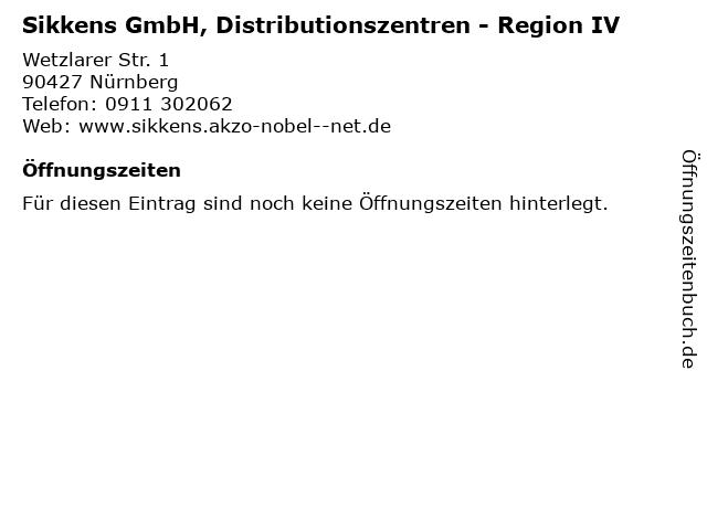 Sikkens GmbH, Distributionszentren - Region IV in Nürnberg: Adresse und Öffnungszeiten