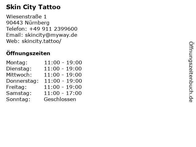 Skin City Tattoo in Nürnberg: Adresse und Öffnungszeiten