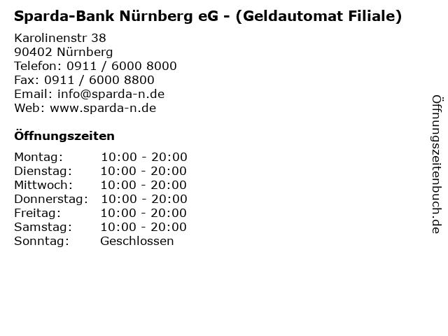 Sparda-Bank Nürnberg eG - (Geldautomat Filiale) in Nürnberg: Adresse und Öffnungszeiten