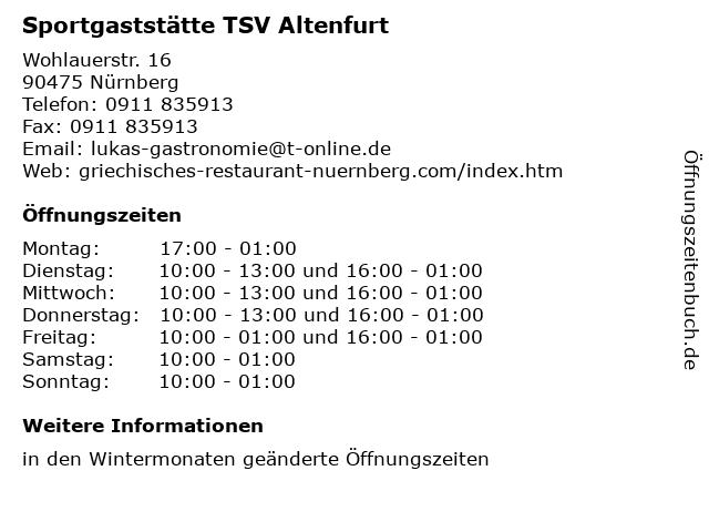 Sportgaststätte TSV Altenfurt in Nürnberg: Adresse und Öffnungszeiten