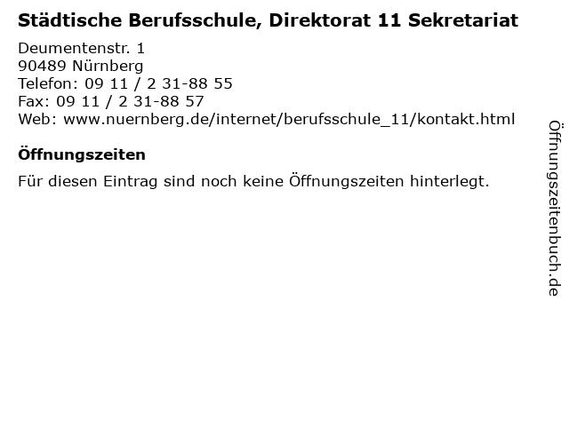 Städtische Berufsschule, Direktorat 11 Sekretariat in Nürnberg: Adresse und Öffnungszeiten