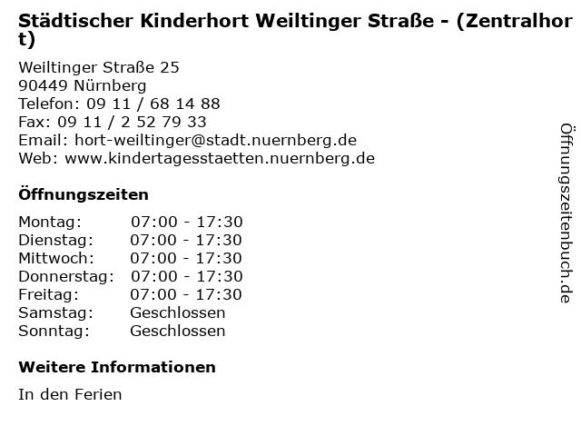 Städtischer Kinderhort Weiltinger Straße - (Zentralhort) in Nürnberg: Adresse und Öffnungszeiten