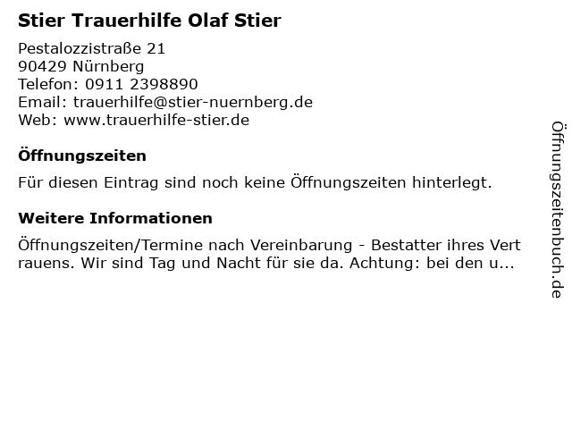Stier Trauerhilfe Olaf Stier in Nürnberg: Adresse und Öffnungszeiten
