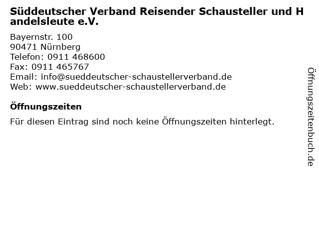 Süddeutscher Verband Reisender Schausteller und Handelsleute e.V. in Nürnberg: Adresse und Öffnungszeiten