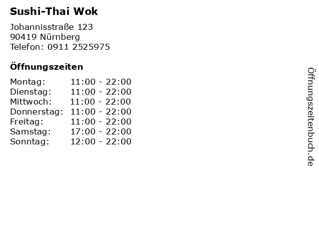 Sushi-Thai Wok in Nürnberg: Adresse und Öffnungszeiten