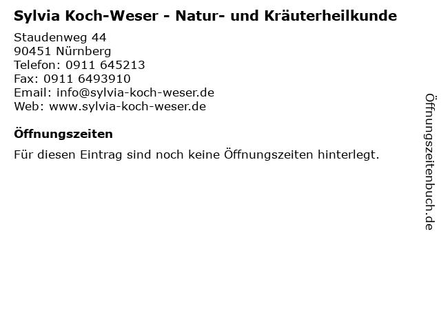 Sylvia Koch-Weser - Natur- und Kräuterheilkunde in Nürnberg: Adresse und Öffnungszeiten