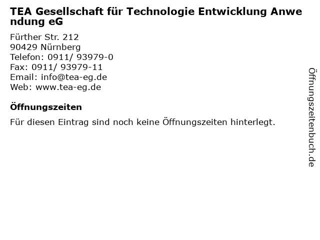 TEA Gesellschaft für Technologie Entwicklung Anwendung eG in Nürnberg: Adresse und Öffnungszeiten