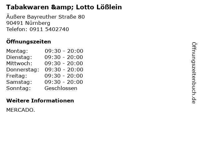 Tabakwaren & Lotto Lößlein in Nürnberg: Adresse und Öffnungszeiten