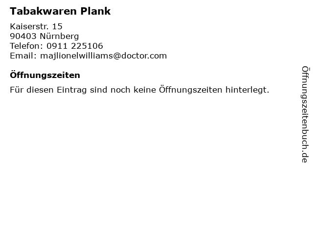 Tabakwaren Plank in Nürnberg: Adresse und Öffnungszeiten