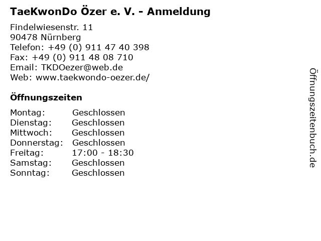 TaeKwonDo Özer e. V. - Anmeldung in Nürnberg: Adresse und Öffnungszeiten