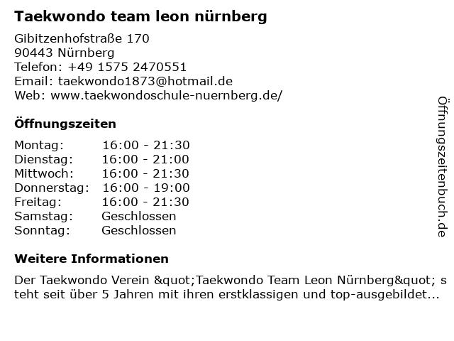 Taekwondo team leon nürnberg in Nürnberg: Adresse und Öffnungszeiten