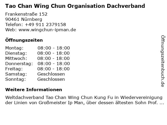 Tao Chan Wing Chun Organisation Dachverband in Nürnberg: Adresse und Öffnungszeiten