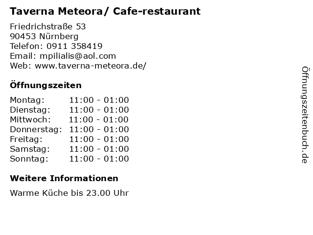 Taverna Meteora/ Cafe-restaurant in Nürnberg: Adresse und Öffnungszeiten