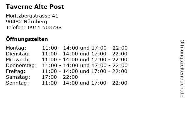 ᐅ Offnungszeiten Taverne Alte Post Moritzbergstrasse 41 In Nurnberg