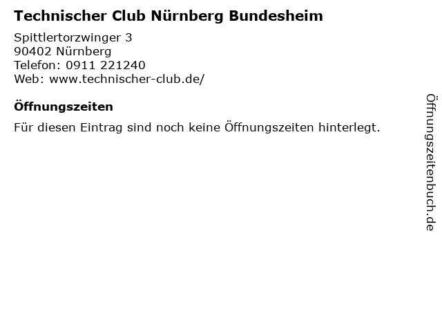 Technischer Club Nürnberg Bundesheim in Nürnberg: Adresse und Öffnungszeiten