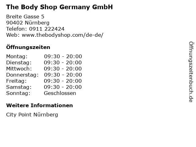 The Body Shop Germany GmbH in Nürnberg: Adresse und Öffnungszeiten