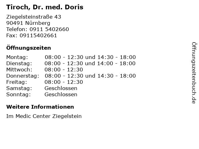 Tiroch, Dr. med. Doris in Nürnberg: Adresse und Öffnungszeiten