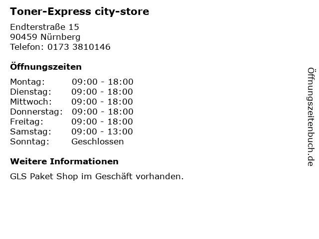 Toner-Express city-store in Nürnberg: Adresse und Öffnungszeiten