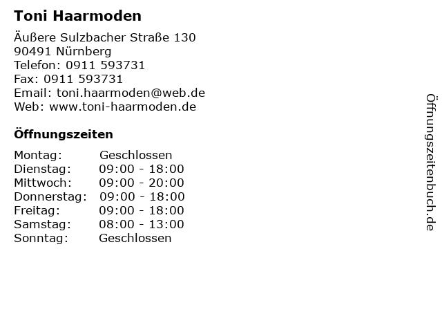 Toni Haarmoden in Nürnberg: Adresse und Öffnungszeiten