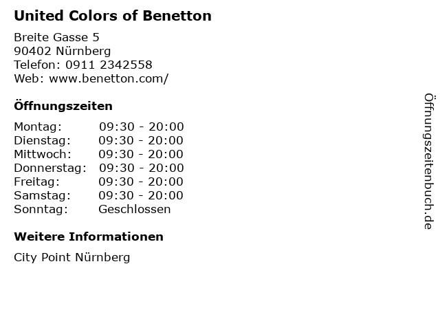 United Colors of Benetton in Nürnberg: Adresse und Öffnungszeiten