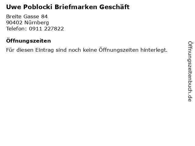 Uwe Poblocki Briefmarken Geschäft in Nürnberg: Adresse und Öffnungszeiten