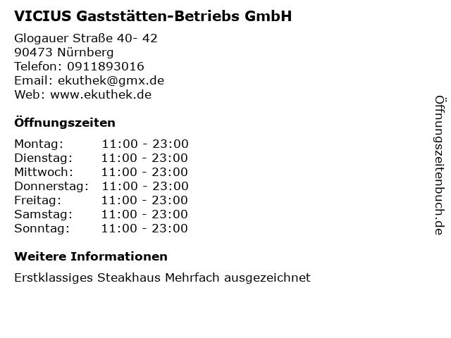 VICIUS Gaststätten-Betriebs GmbH in Nürnberg: Adresse und Öffnungszeiten