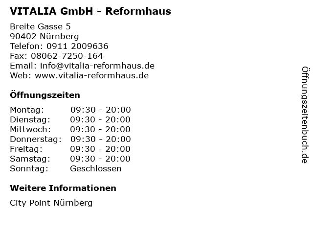 VITALIA GmbH - Reformhaus in Nürnberg: Adresse und Öffnungszeiten