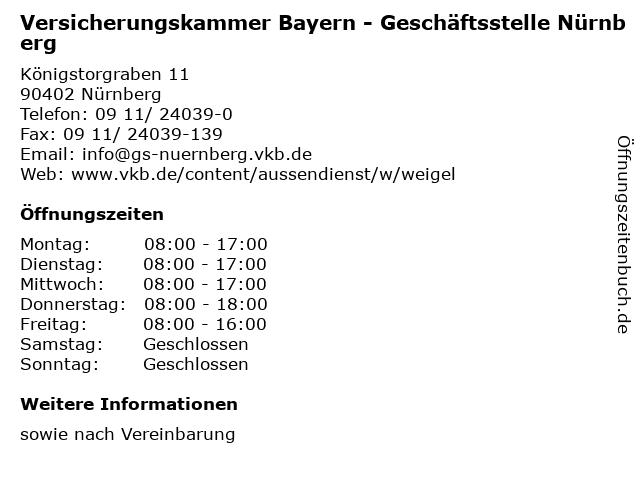 Versicherungskammer Bayern - Geschäftsstelle Nürnberg in Nürnberg: Adresse und Öffnungszeiten