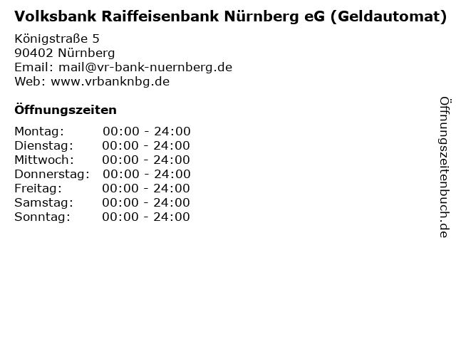 Volksbank Raiffeisenbank Nürnberg eG (Geldautomat) in Nürnberg: Adresse und Öffnungszeiten