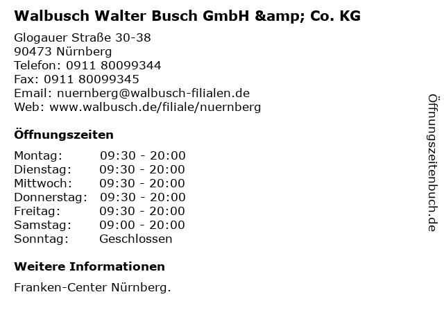 Walbusch Walter Busch GmbH & Co. KG in Nürnberg: Adresse und Öffnungszeiten