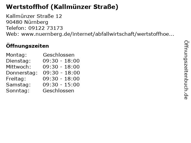 Wertstoffhof (Kallmünzer Straße) in Nürnberg: Adresse und Öffnungszeiten