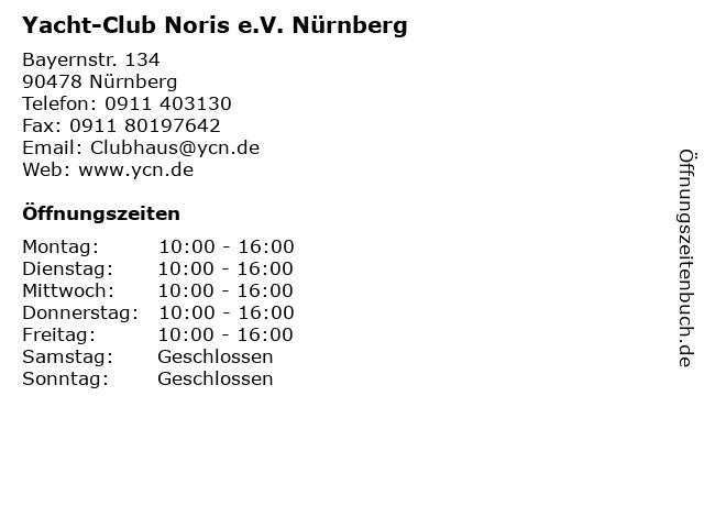 Yacht-Club Noris e.V. Nürnberg in Nürnberg: Adresse und Öffnungszeiten