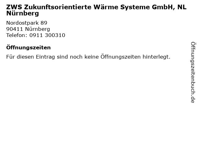 ZWS Zukunftsorientierte Wärme Systeme GmbH, NL Nürnberg in Nürnberg: Adresse und Öffnungszeiten