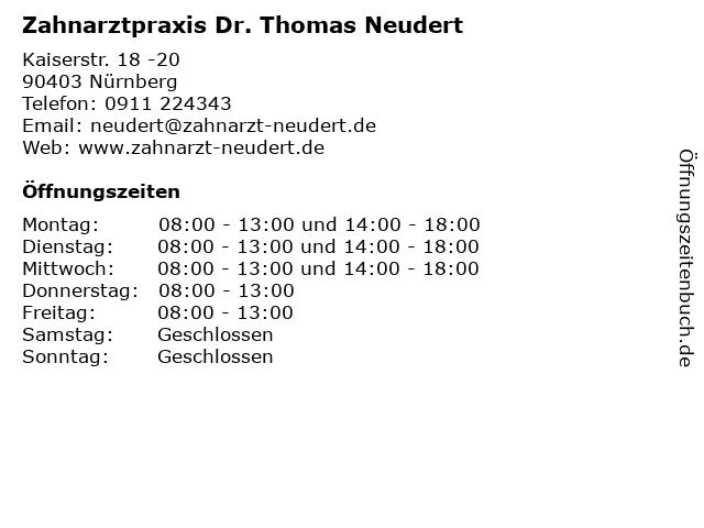 Neudert, Dr. med. dent. Thomas in Nürnberg: Adresse und Öffnungszeiten
