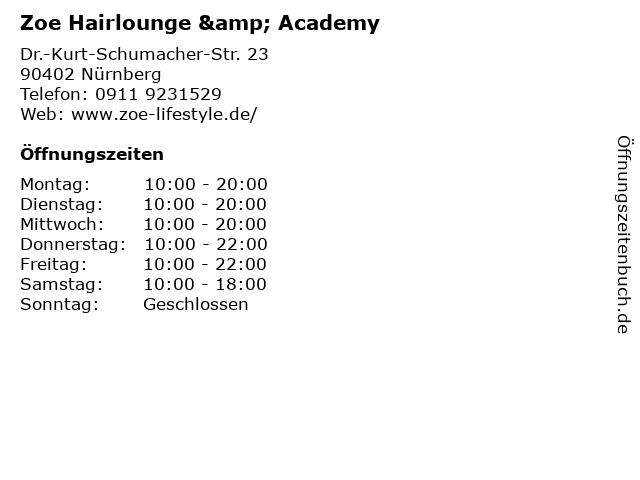 Zoe Hairlounge & Academy in Nürnberg: Adresse und Öffnungszeiten