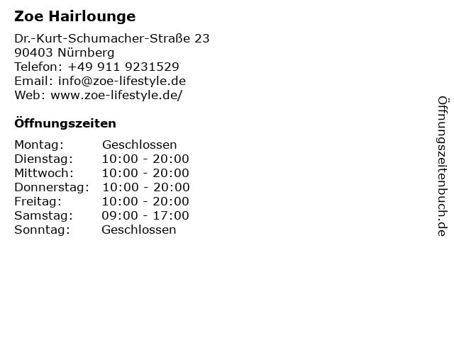 Zoe Hairlounge in Nürnberg: Adresse und Öffnungszeiten