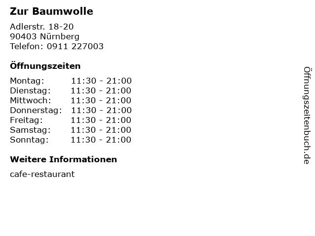 Zur Baumwolle in Nürnberg: Adresse und Öffnungszeiten